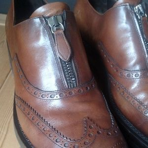 Prada Shoes - PRADA Runway Lug Sole Wingtip Zip-up Brogues